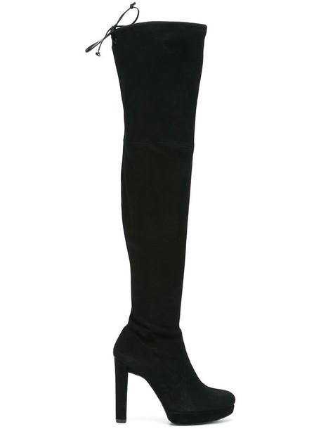 STUART WEITZMAN women leather suede black silk shoes