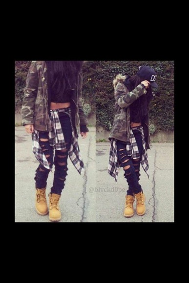 fur camouflage coat outfit timberlands