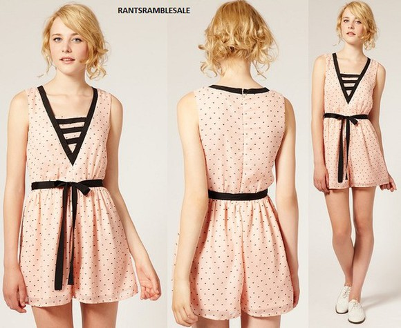 asos heart print zooey deschanel dahlia playsuit cute dolly dress