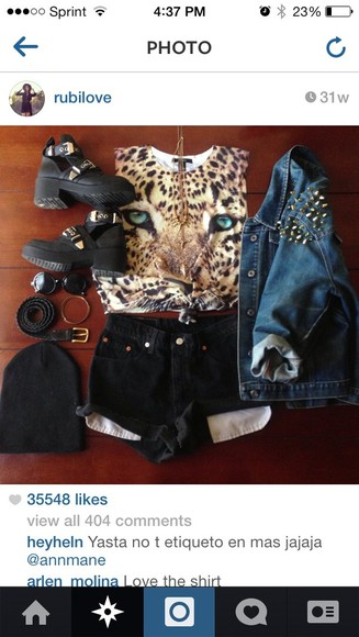 shirt studded denim jacket jacket shorts High waisted shorts denim jacket tiger shirt black boots black combat boots shoes black boots