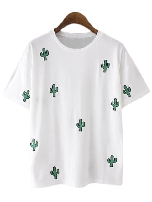 White Cactus Embroidery Casual T-shirt -SheIn(Sheinside)