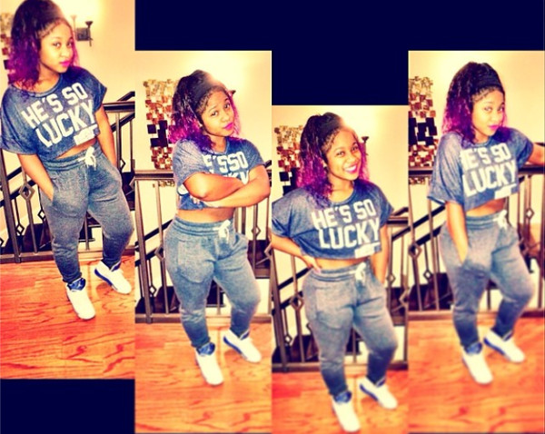 blouse blue joggers grapes air jordan jordans purple hair lipstick reginae shoes pants