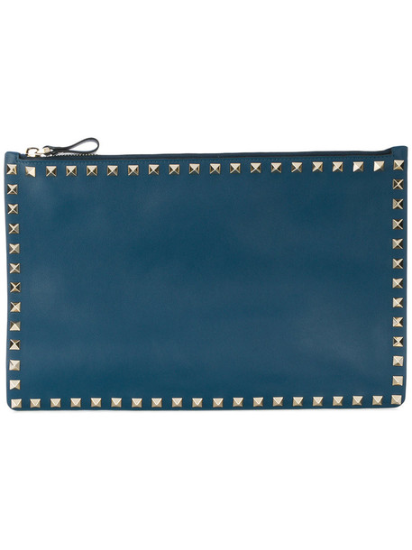 Valentino women pouch leather blue bag