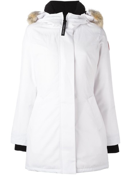 canada goose parka feathers women white cotton coat