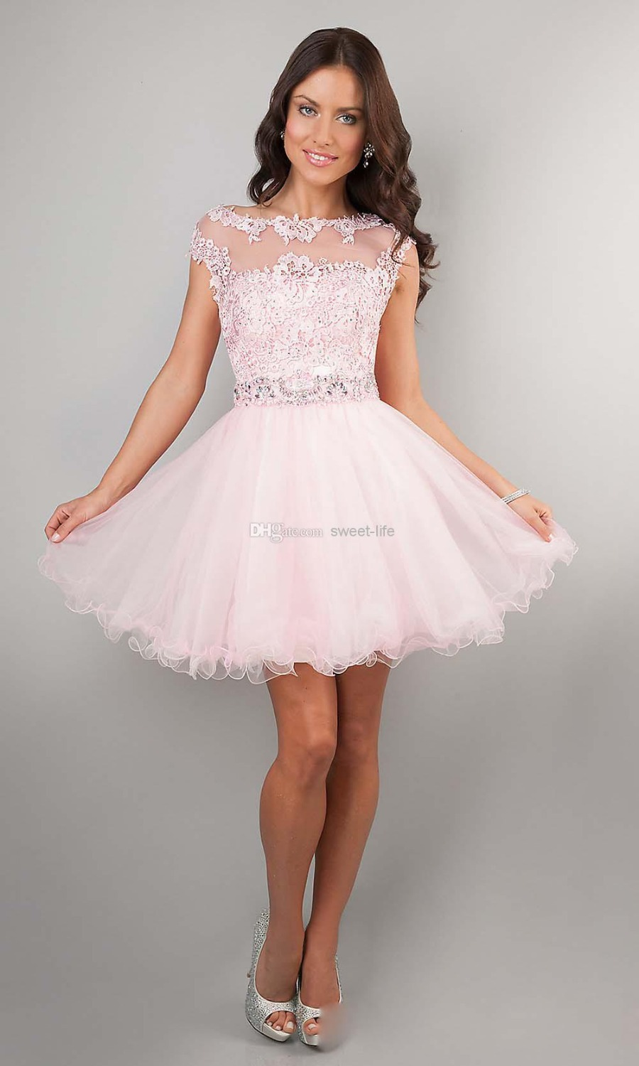 Cute Short Prom Dresses Pink High Neck Beaded Applique See Through Cheap Junior Girls Graduation Dresses Party Dresses -in Prom Dresses from Apparel & Accessories on Aliexpress.com | Alibaba Group