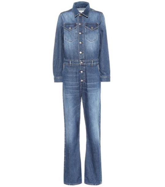 Ganni Cotton denim jumpsuit in blue