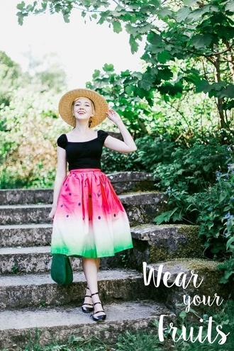 the clothes blogger hat shirt skirt bag