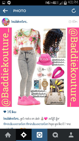 shoes pink and white top outfit outfit idea baddiekouture_ blaaaze jewels bag jeans