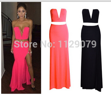 2014 new summer strapless heart shape plunge slit brand Ladies' tight casual dress fishtail classy prom maxi dress OM153-in Dresses from Apparel & Accessories on Aliexpress.com | Alibaba Group