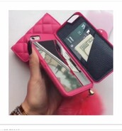 phone cover,pink,pom pom,mirror,wallet,iphone