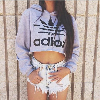 sweater denim shorts ripped crop long sleeves