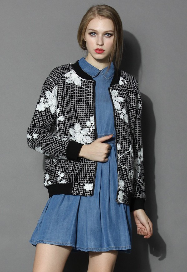 jacket chicwish bomber jacket flower check embossed