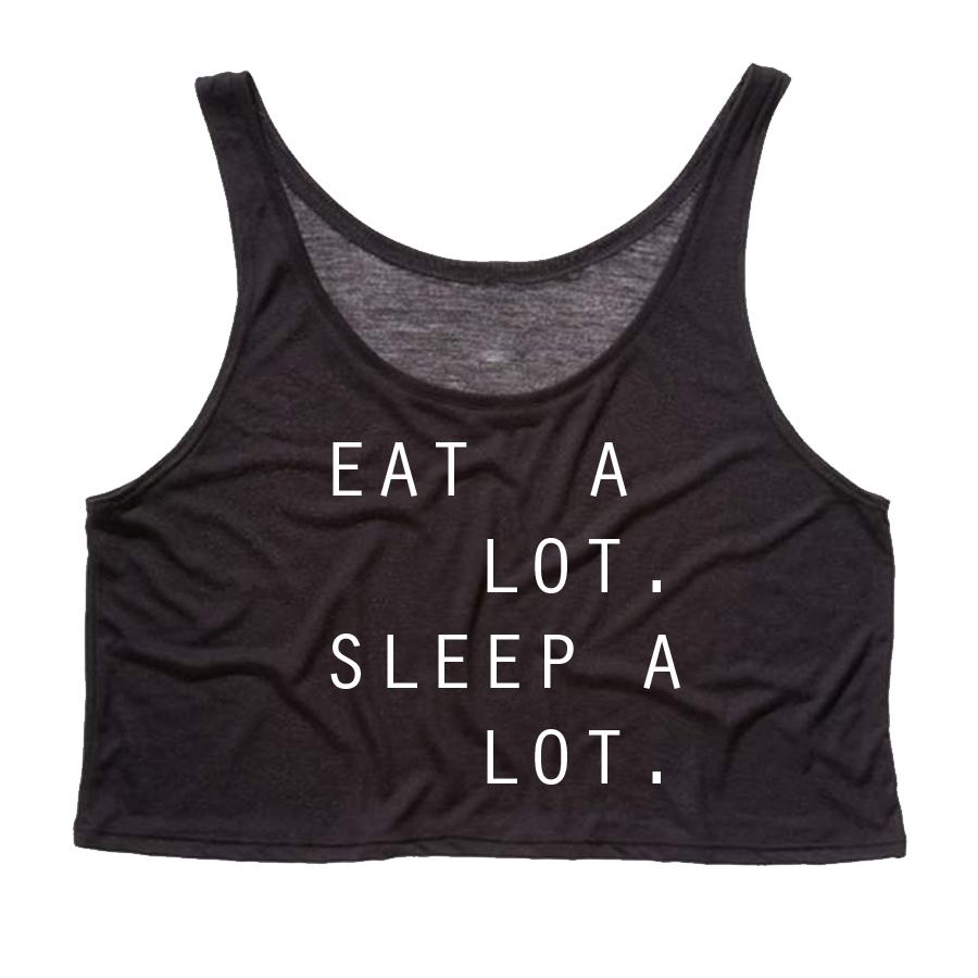 Eat lot sleep lot crop tank top