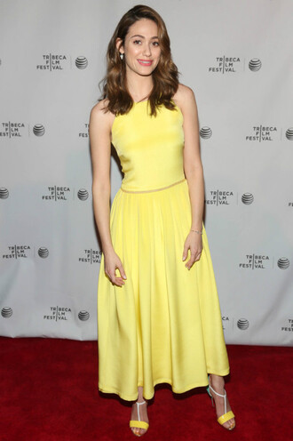 dress maxi dress yellow yellow dress emmy rossum sandals shoes
