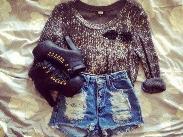 shoes high heels ankle boots shorts jeffrey campbell hot heels love black gold laces look denim look-a-like sunglasses sweater coat jumper sunnies High waisted shorts немного блестящий свитер бренд studs block heels block heel cozy ripped shorts denim shorts shirt ssunglasses sparkly sweater leather high heels romper crop tops cropped sweater gold sequins