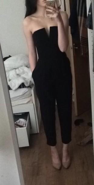 jumpsuit clothes women fashi fashion black black and white black jumpsuit h&m forever 21