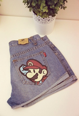 shorts high waisted shorts denim shorts mario bros video games cartoon