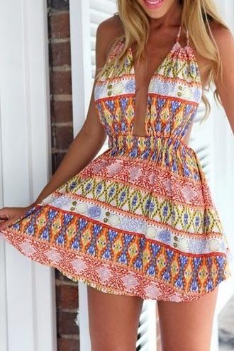 dress ethnic print halter dress summer beach print pattern boho gypsy