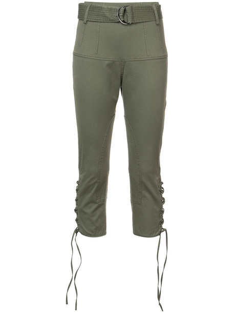 Marissa Webb cropped high women spandex cotton green pants