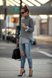 jeans,grey turtleneck sweater,striped shirt,distressed denim jeans,grey stilettos,black bag,blogger