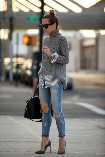 jeans grey turtleneck sweater striped shirt distressed denim jeans grey stilettos black bag blogger