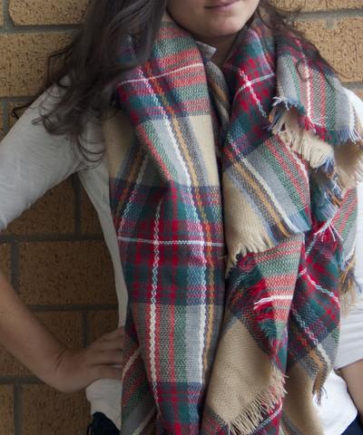 Tan tartan scarf