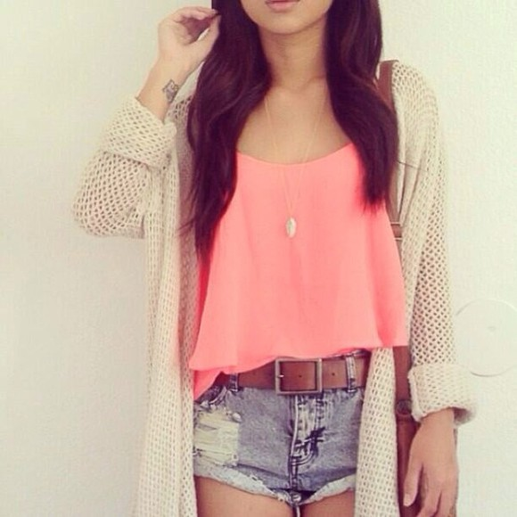 shorts blouse jacket belt casual summer brown belt pink tanktop denim shorts cardigan knitted cardigan