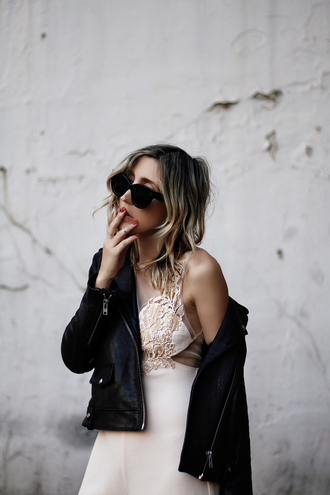 the fashion sight blogger sunglasses leather jacket suede jacket white dress cut-out dress lace dress