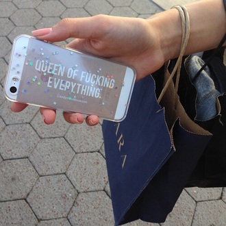 phone cover queen sparks everything gold transparant quote on it phone case iphone 5 case queen of fucking everything apple gold iphone girly sparkle iphone iphone case transparent iphone cases transparent  bag stars cute lovely queen of fucking every thing. iphone 4 case grunge pastel grunge rock iphone 5s cover glitter silver sparkly phone case glitter phone glitters i phone case iphone5 case clear iphone 6 cases