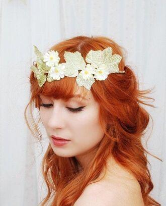 hair accessories leaves daisy flower crown
