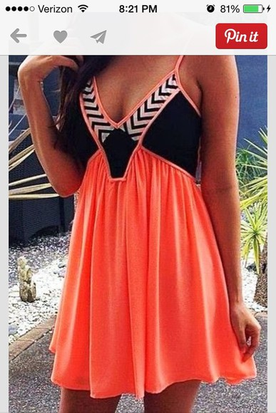 orange dress stripes navy straps zigzag pink dress vneck summer dress cute summer dress dress