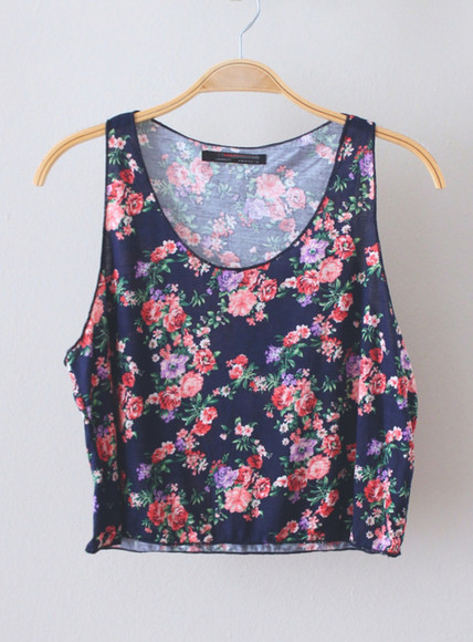 pink flowers flowers floral pretty shirt summer crop tops tank navy blue crop purple flowers