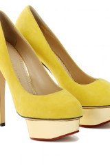 Charlotte Olympia Yellow Dolly Suede Platform Pumps