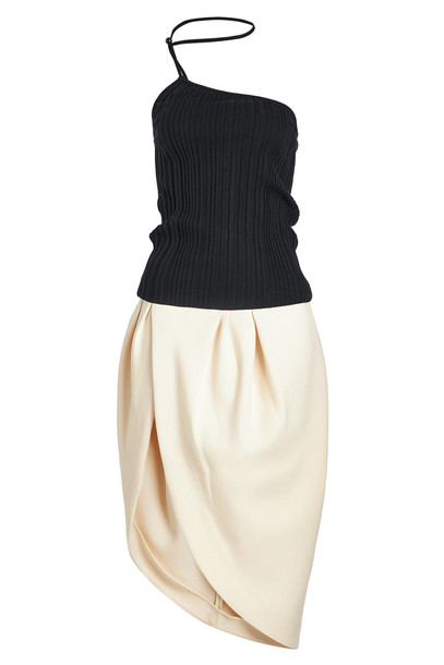 Jacquemus Pinhao Asymmetric Dress  in beige / beige