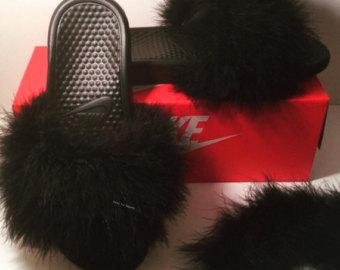 8925fda5b nike fur slides – Etsy