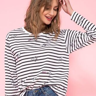 shirt yeah bunny long sleeves planes travel 28719 stripes graphic tee oversized sweater