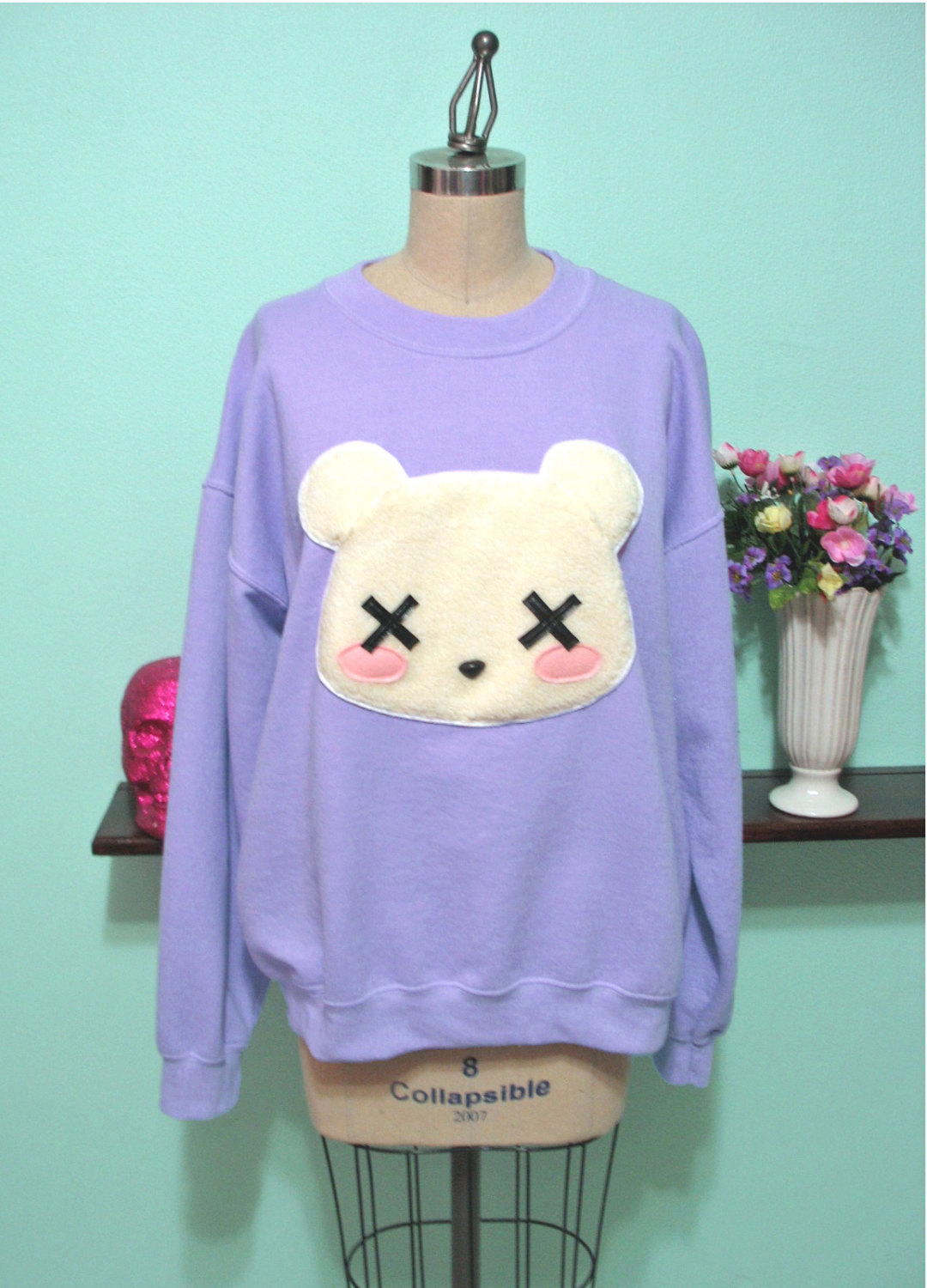Goth Kawaii Grunge Deaddy Bear - Dead Teddy Bear Oversized Sweatshirt