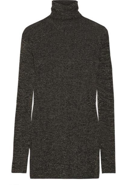 Prada sweater turtleneck turtleneck sweater metallic gold knit