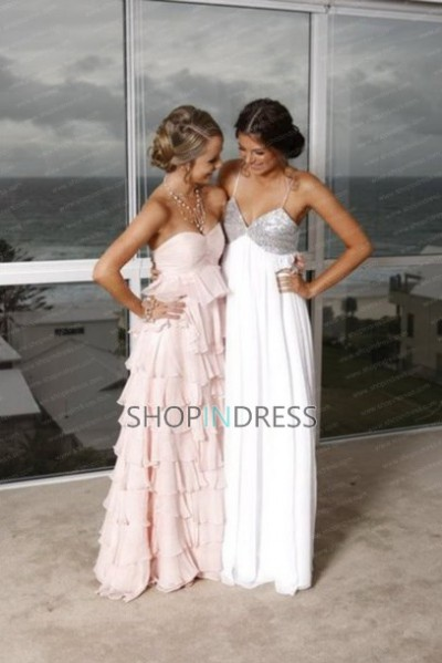 Line spaghetti straps floor length chiffon white prom dress with beaded npd098046 sale at shopindress.com