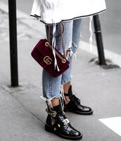 shoes,black boots,cropped jeans,gucci bag,velvet bag,burgundy bag,ripped jeans,light blue jeans,balenciaga,fall accessories,cut-out ankle boots,buckle boots,frayed denim,outfit idea,fall outfits,spring outfits,theclosetheroes,blogger,t-shirt,bag,hat,jacket,pants,jewels