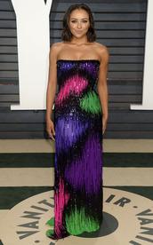 dress,strapless,strapless dress,gown,maxi dress,kat graham,oscars,Oscars 2017