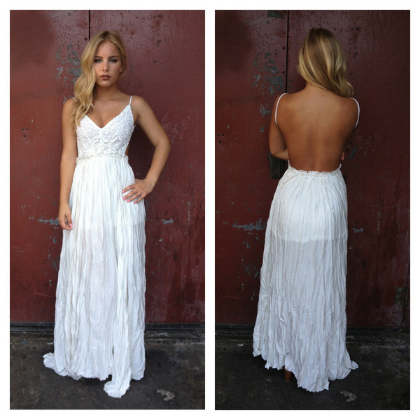 white crochet backless maxi dress dainty hooligan boutique