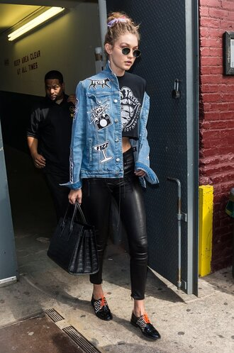 jacket denim jacket pants crop tops sunglasses gigi hadid streetstyle ny fashion week 2016