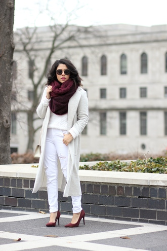 natymichele blogger coat sweater jeans scarf winter outfits high heel pumps pumps winter coat