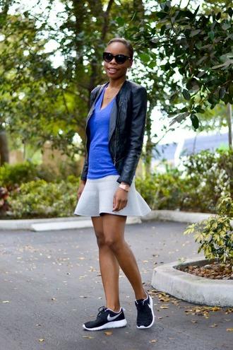 cha cha the fashion genius blogger leather jacket nike sneakers ruffle