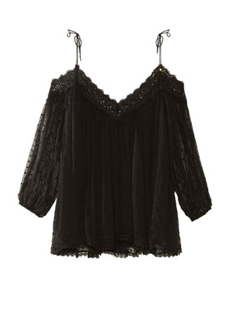 top embroidered silk black