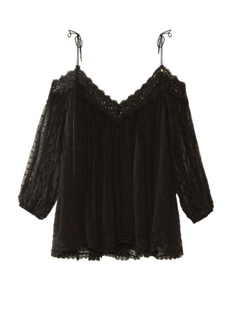 Zimmermann top embroidered silk black