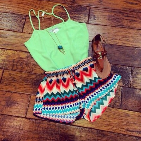 shorts chevron shorts tank top summer boho bohemian bottoms summer outfits necklace festival crop tops shirt
