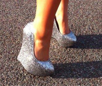 shoes wedges platform shoes sparkle prom shoes pumps high heels silver shoes