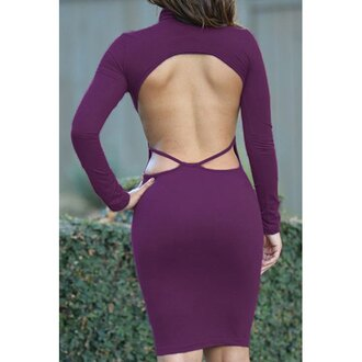 dress purple open back sexy long sleeves sexy stand-up collar long sleeve solid color backless dress for women party trendy summer hot